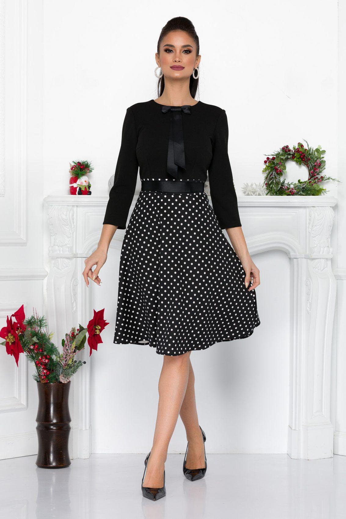 Μαύρο Μίντι Πουά Φόρεμα Clovis 8996 2