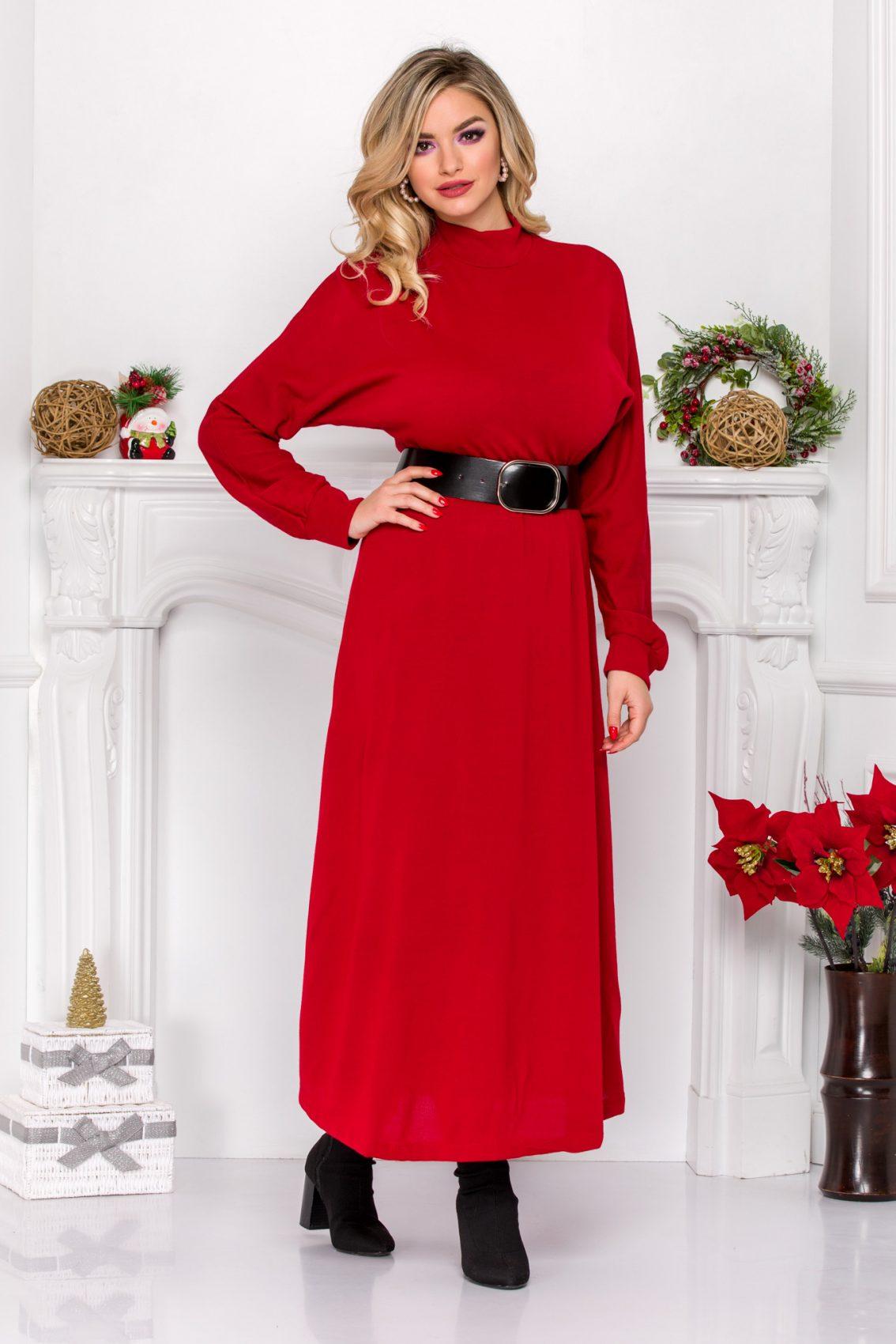 Κόκκινο Πλεκτό Μακρυμάνικο Φόρεμα Irina 9107 2