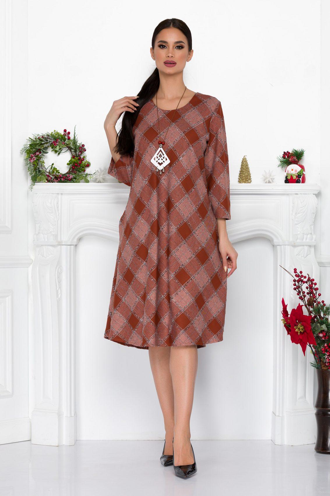 Κεραμιδί Μίντι Καρό Φόρεμα Ava 9049 2