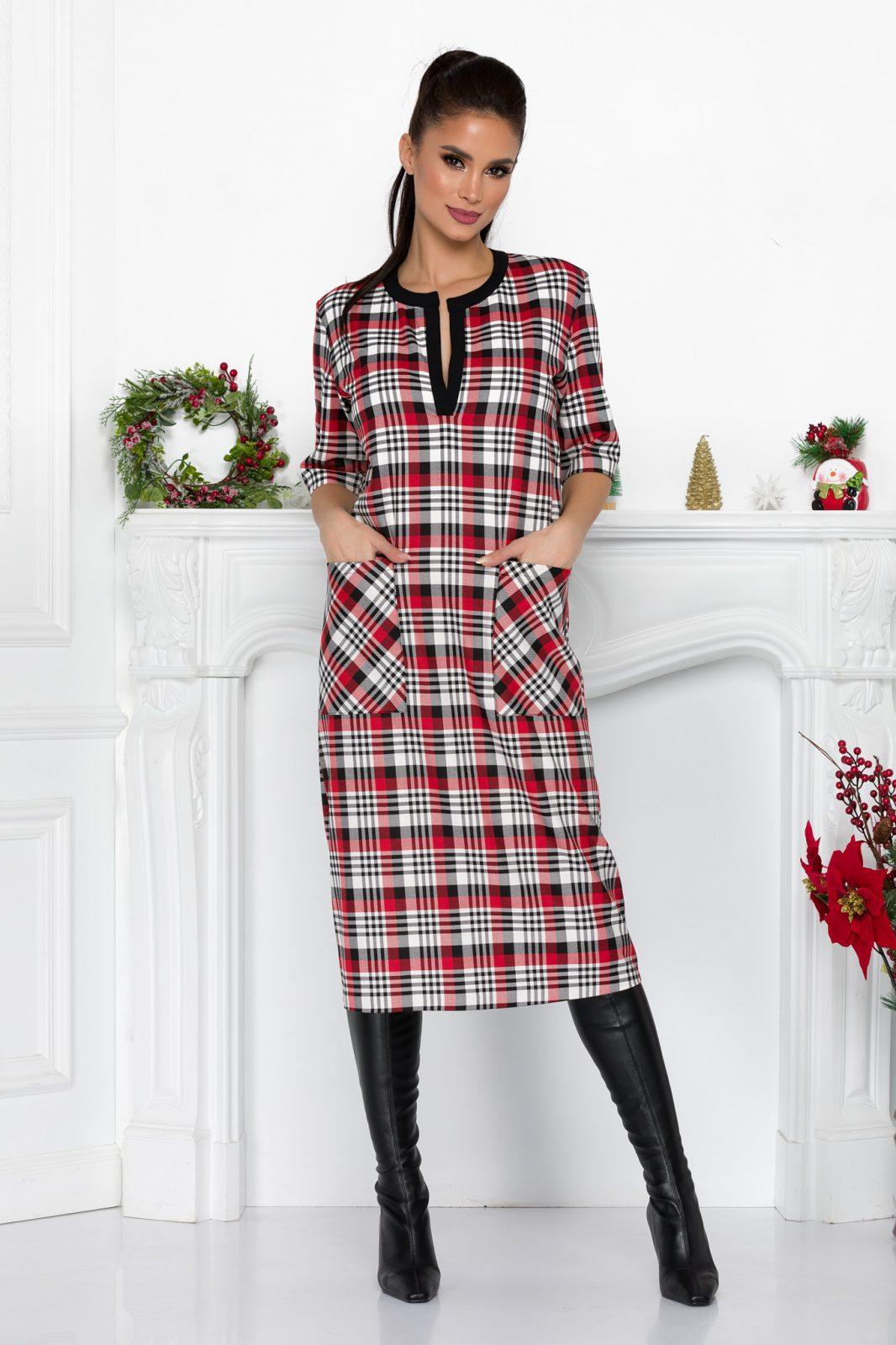 Κόκκινο Καρό Καθημερινό Φόρεμα Luiza 9202 2