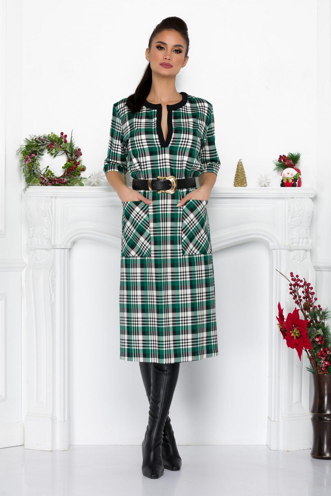Πράσινο Καρό Καθημερινό Φόρεμα Luiza 9201 2