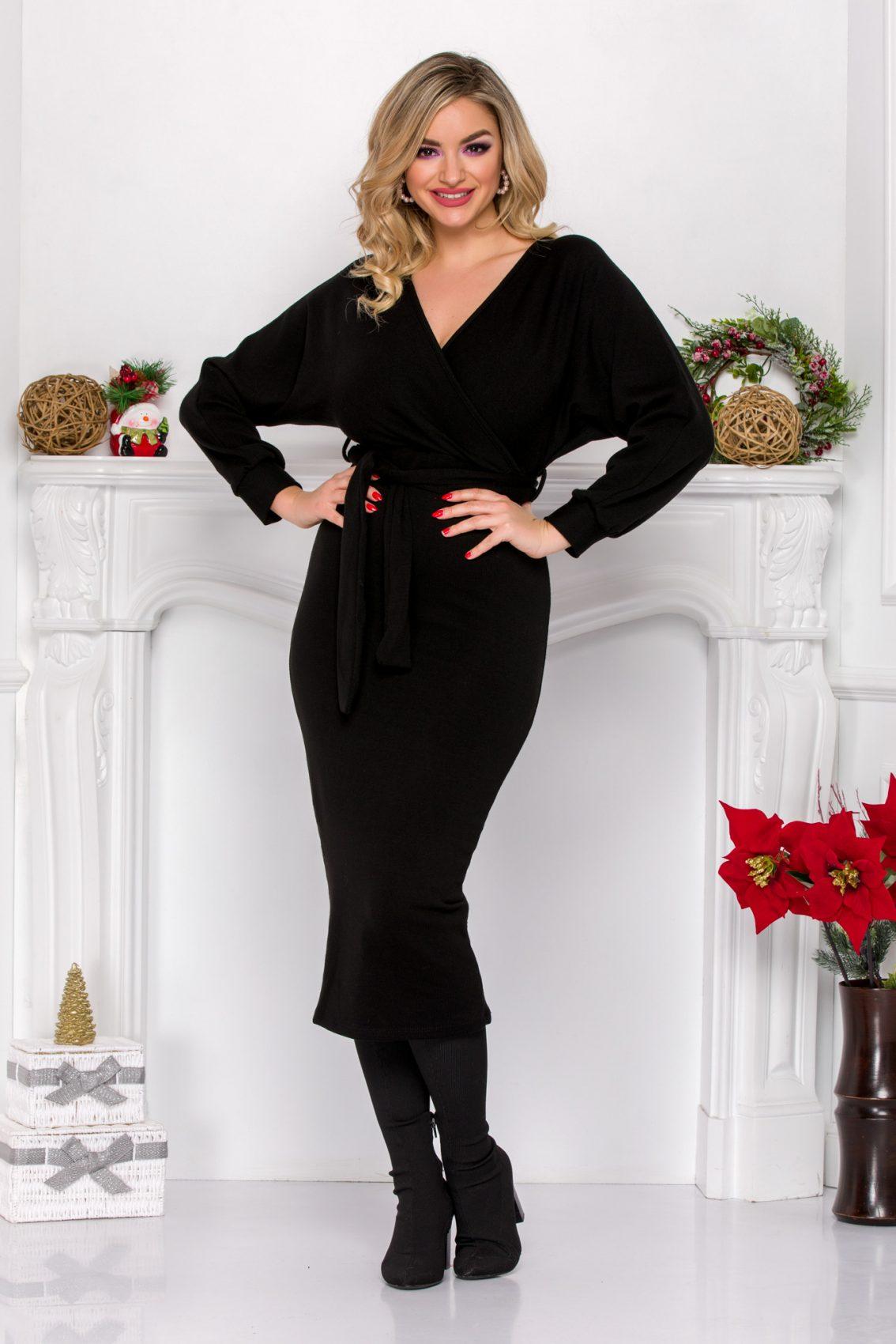 Μαύρο Πλεκτό Κρουαζέ Φόρεμα Jayn 9091 3