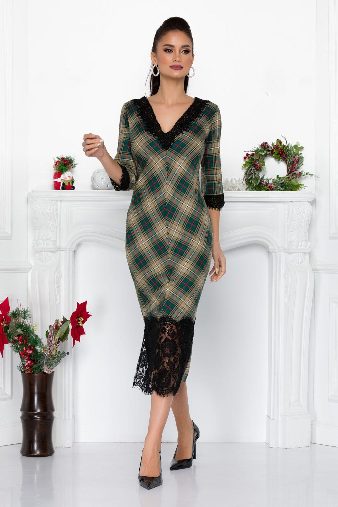 Πράσινο Καρό Φόρεμα Danielle 9195 2