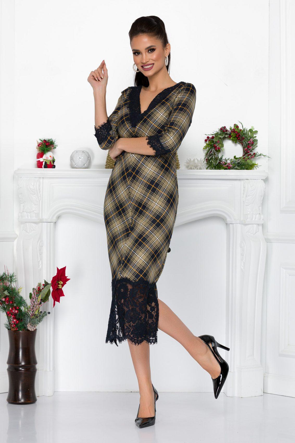 Καρό Φόρεμα Με Δαντέλα Danielle 9194 2