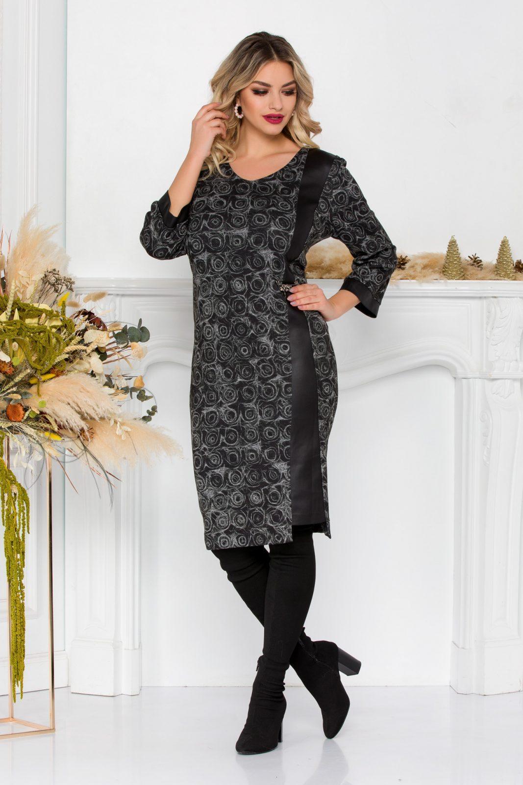 Μαύρο Πλεκτό Φόρεμα Με Δερματίνη Katalina 8910 5