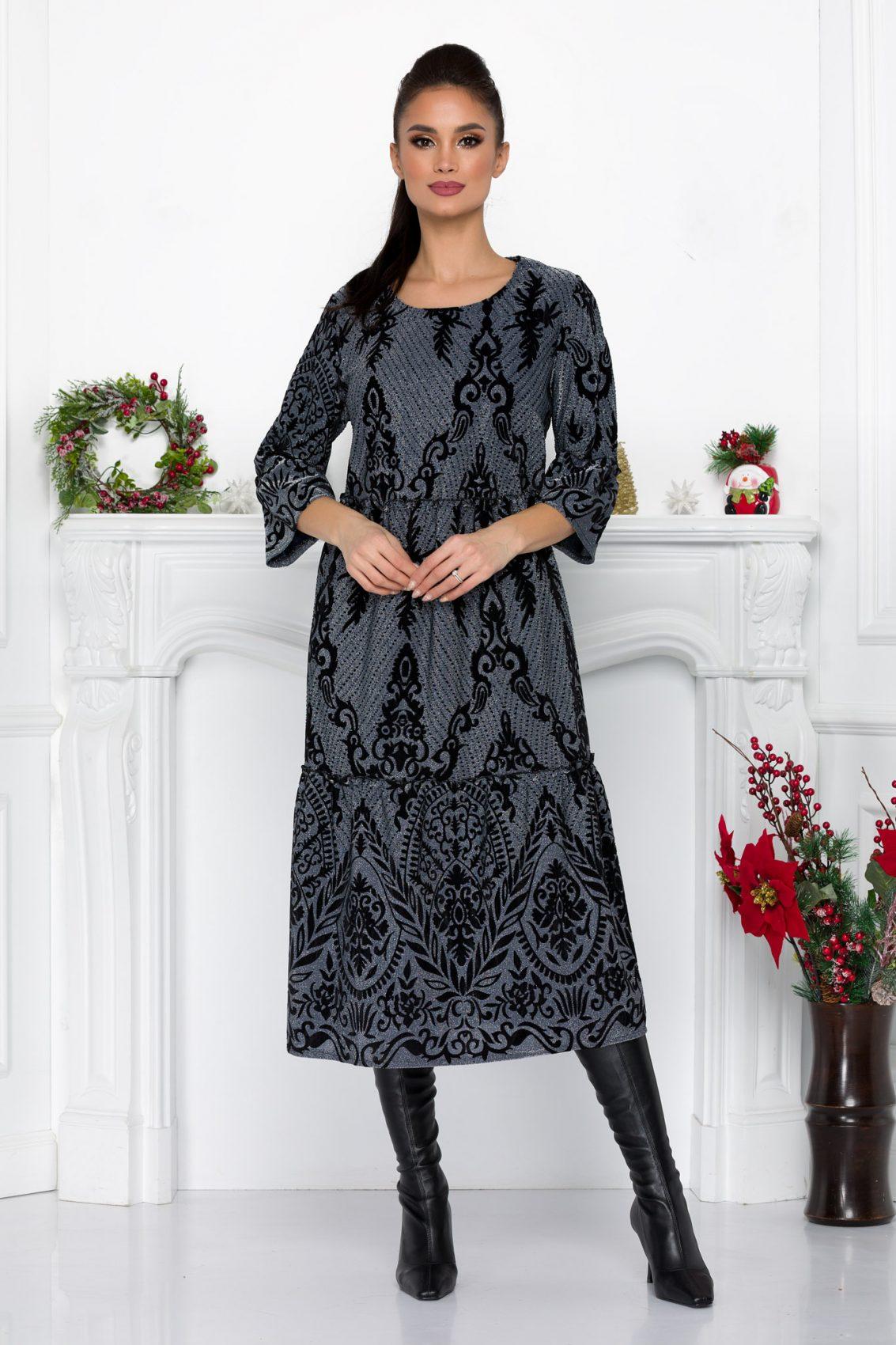 Γκρι Φόρεμα Με Βελούδο Davina 9024 1