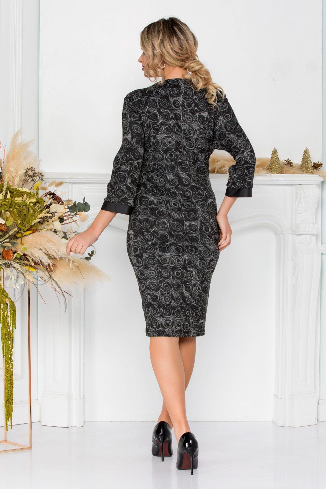 Μαύρο Πλεκτό Φόρεμα Με Δερματίνη Katalina 8910 4