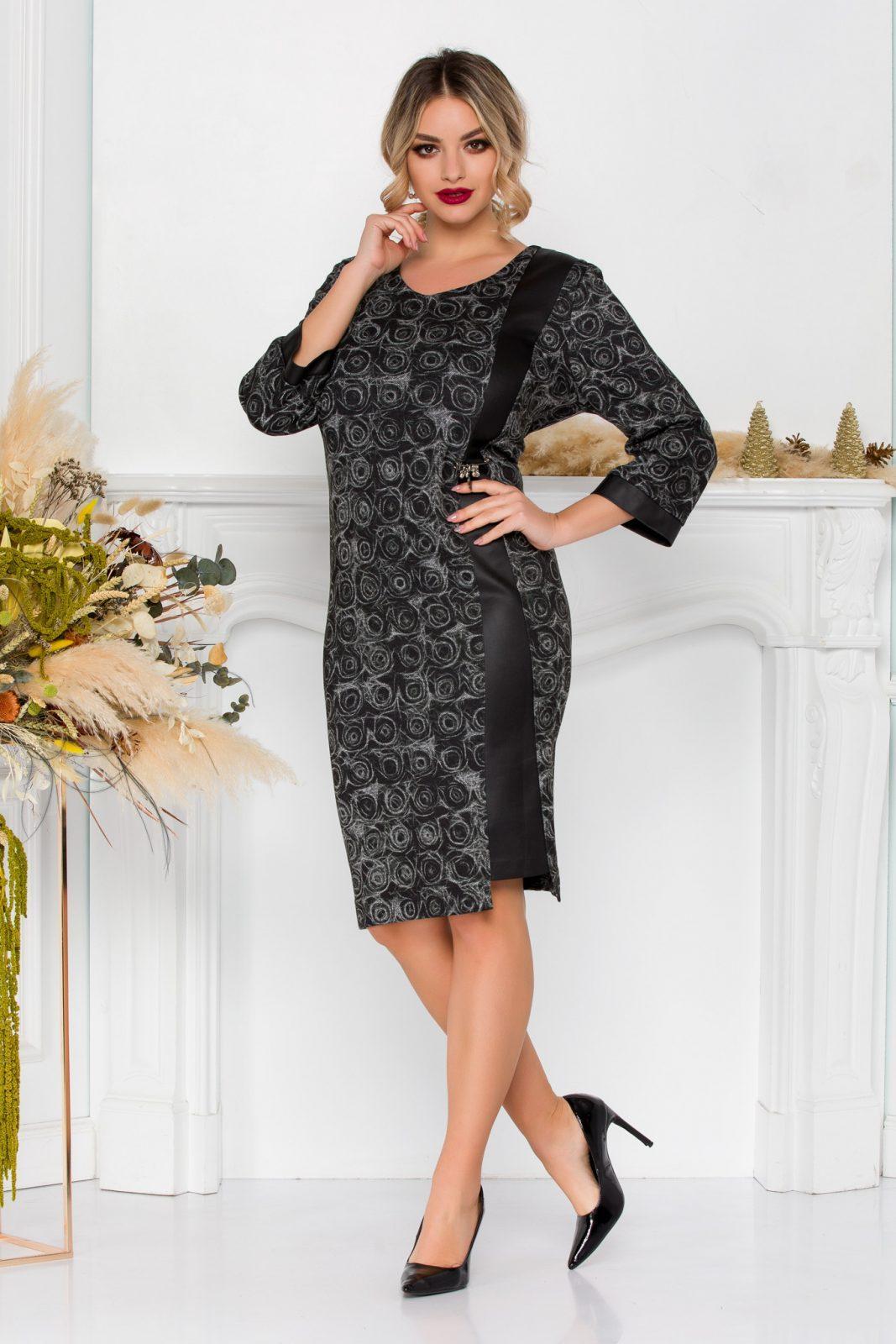 Μαύρο Πλεκτό Φόρεμα Με Δερματίνη Katalina 8910 3