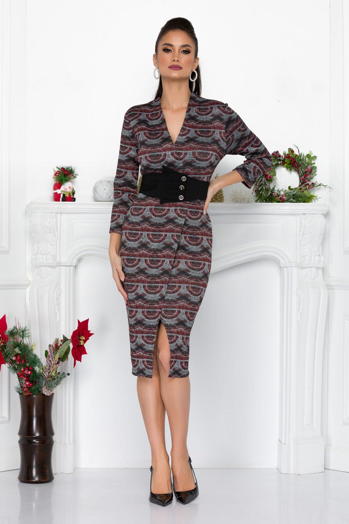 Πλεκτό Μίντι Κρουαζέ Φόρεμα Με Ζώνη Gisell 9069 2