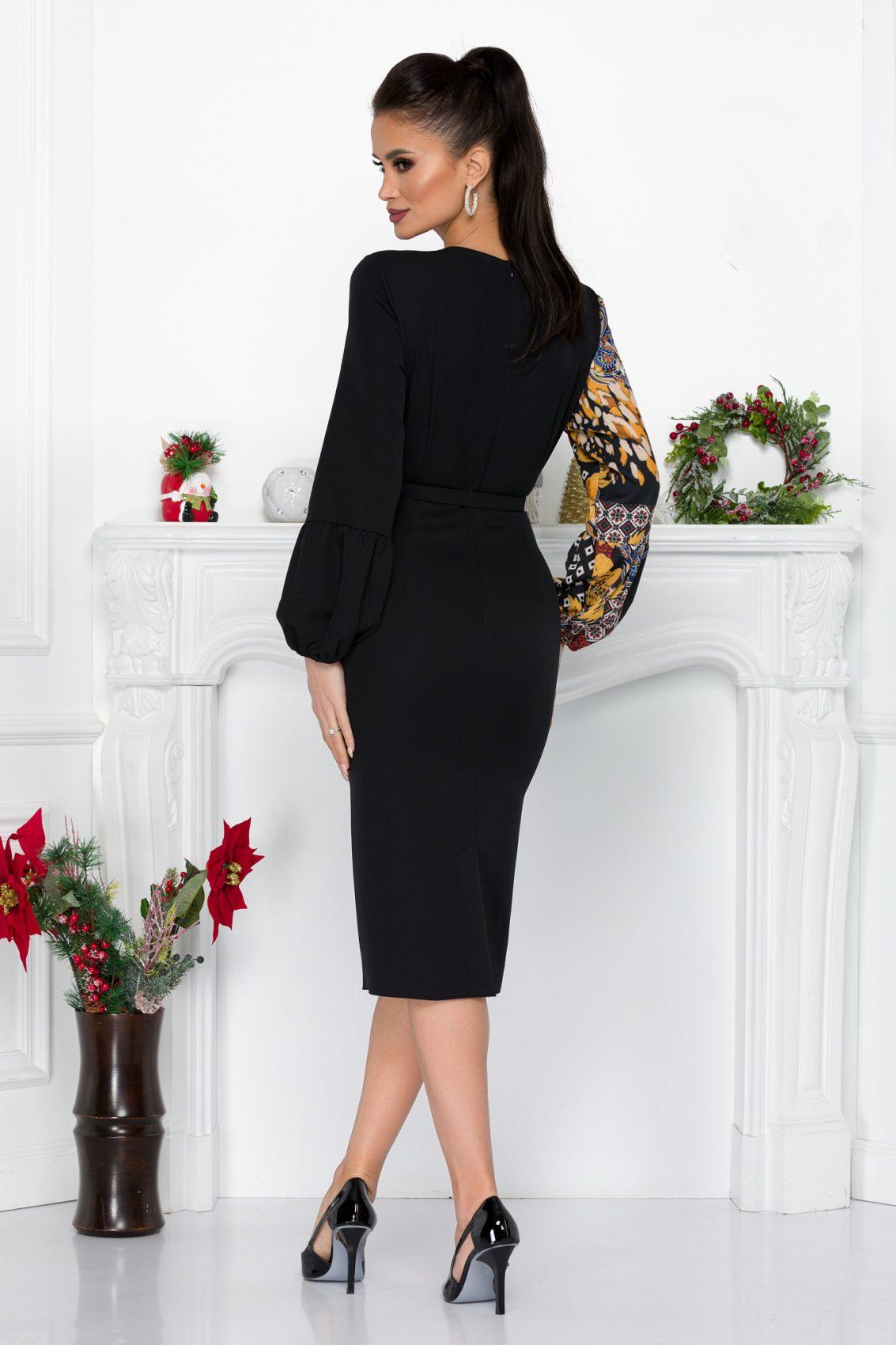 Μαύρο Μίντι Κρουαζέ Φόρεμα Emelia 9190 2