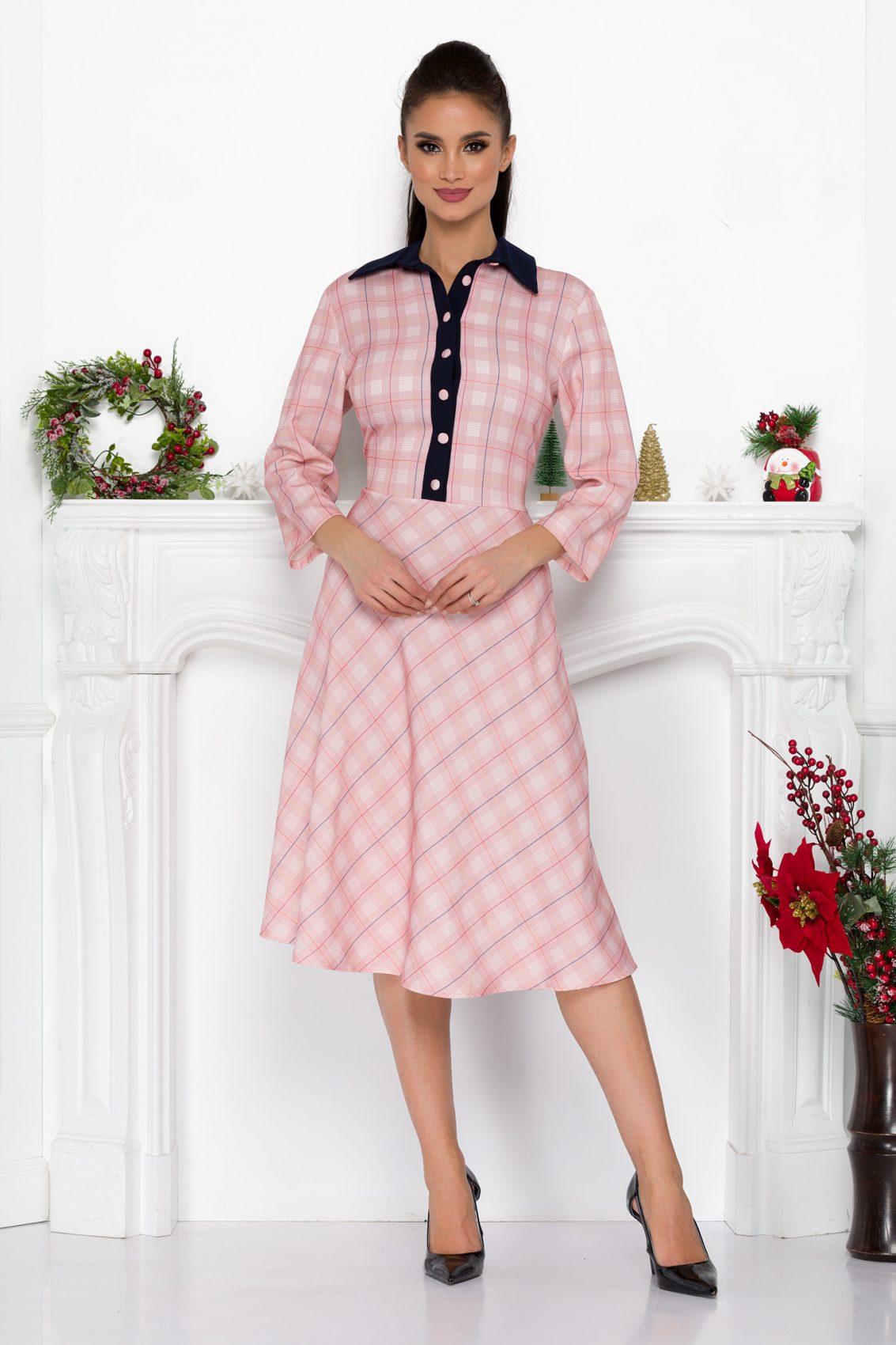 Ροζ Καρό Φόρεμα Με Κουμπιά Leyla 9119 1