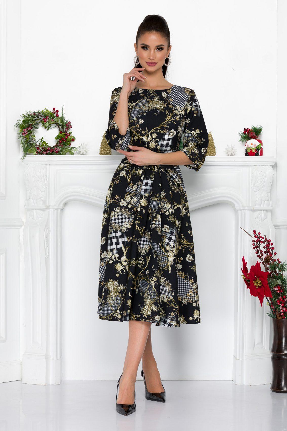 Μαύρο Φλοράλ Φόρεμα Coralyne 9065 2