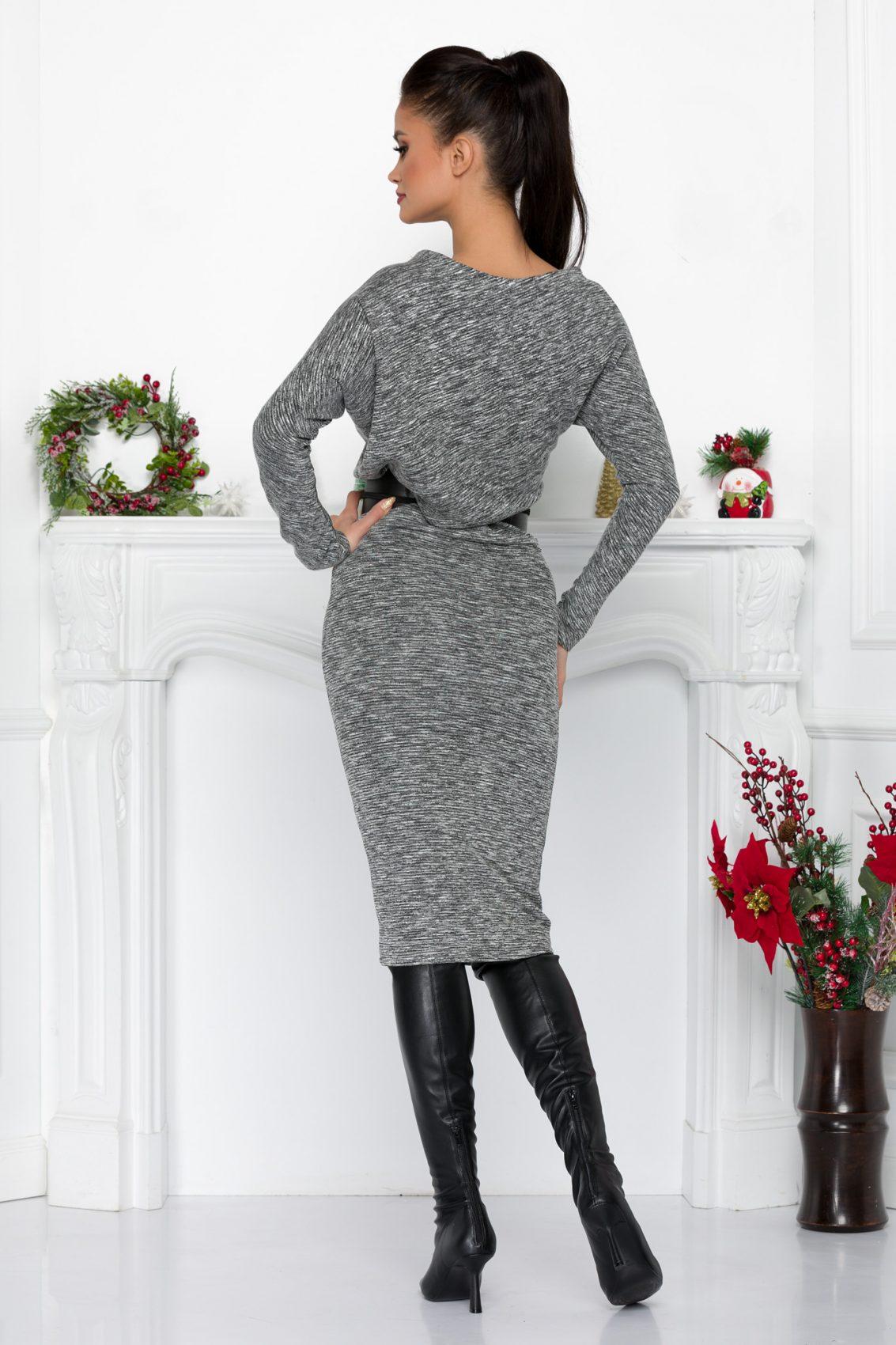 Γκρι Πλεκτό Φόρεμα Με Ζώνη Adyn 9011 3