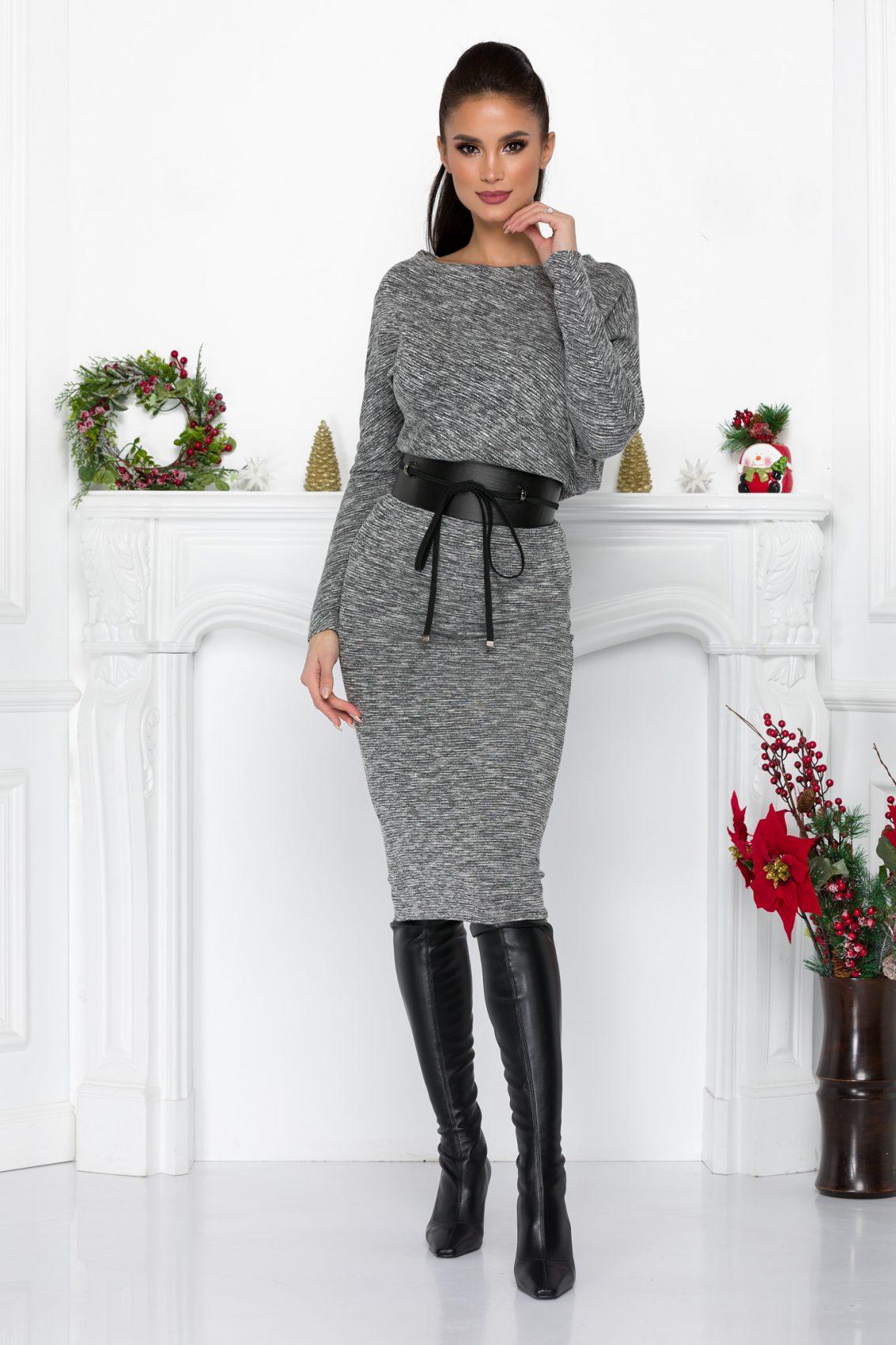 Γκρι Πλεκτό Φόρεμα Με Ζώνη Adyn 9011 2