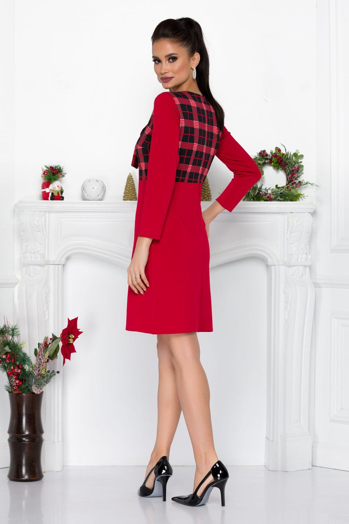 Κόκκινο Φόρεμα Με Φιόγκο Fernanda 9015 1