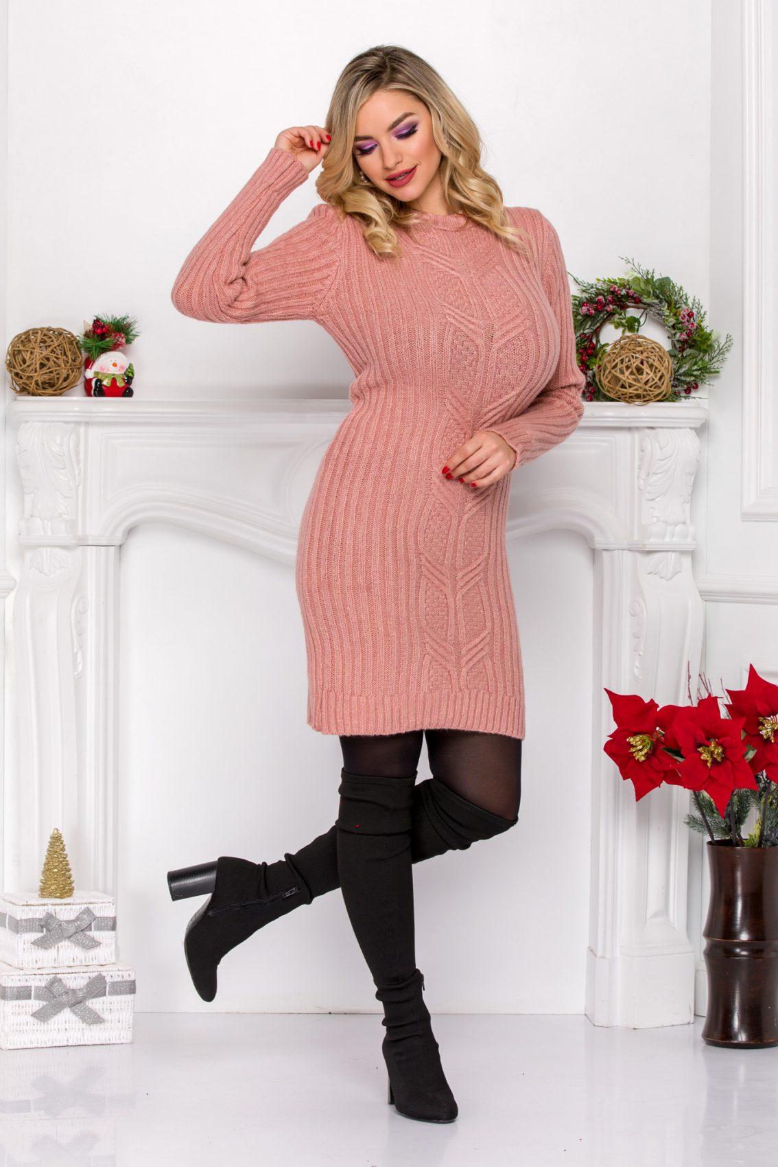 Ροζ Πλεκτό Φόρεμα Dalida 9167 2