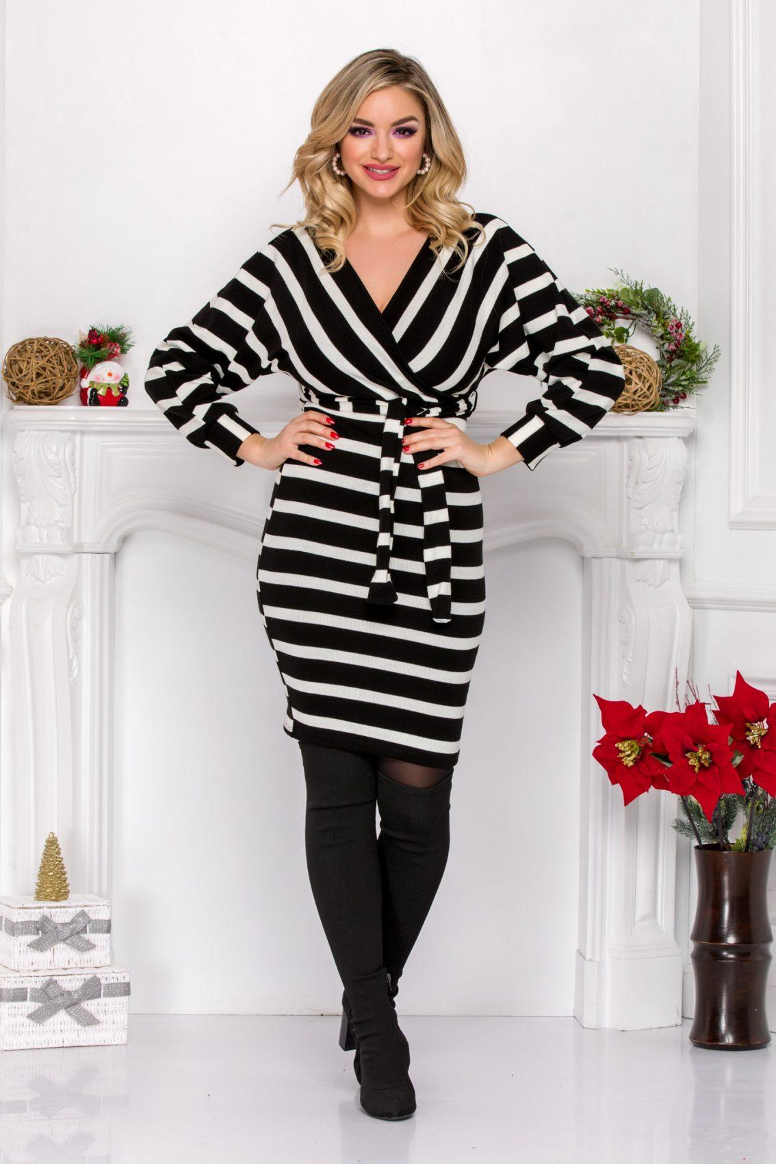 Ασπρόμαυρο Πλεκτό Φόρεμα Leila 9082 2