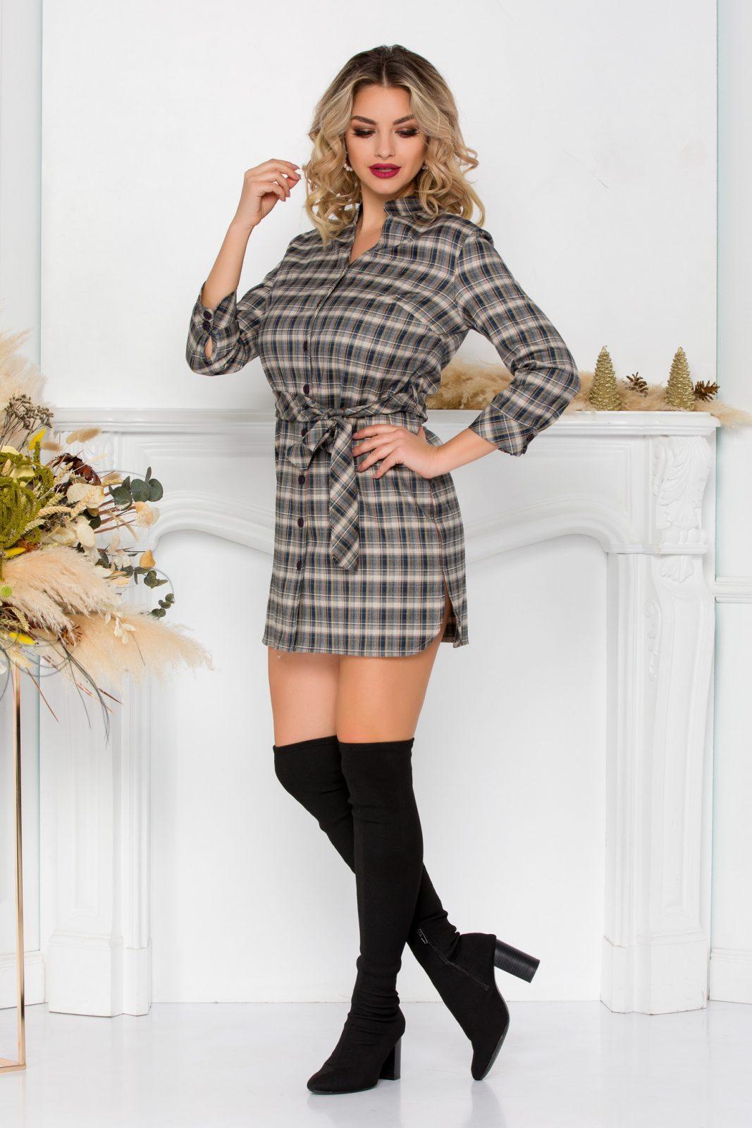 Καρό Φόρεμα Lyz 8972 2