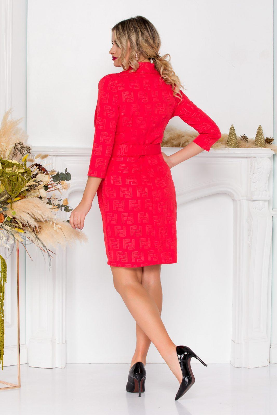 Κοράλι Φόρεμα Με Ζώνη Deea 8900 1