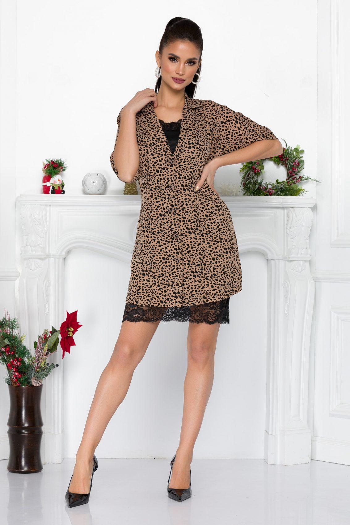Λεοπάρ Φόρεμα Με Δαντέλα Vega 9114 3