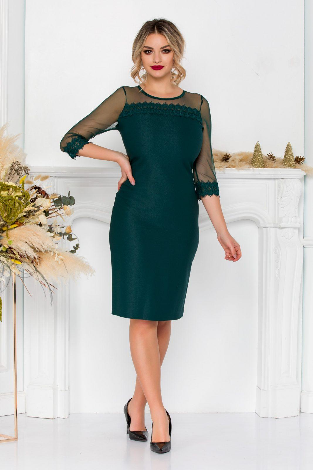 Πράσινο Μίντι Φόρεμα Με Δαντέλα Sylvia 8951 1