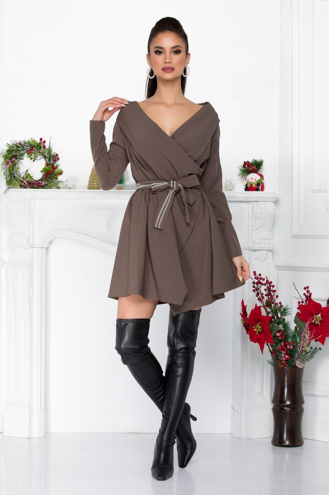 Λαδί Κρουαζέ Φόρεμα Ariela 9038 3