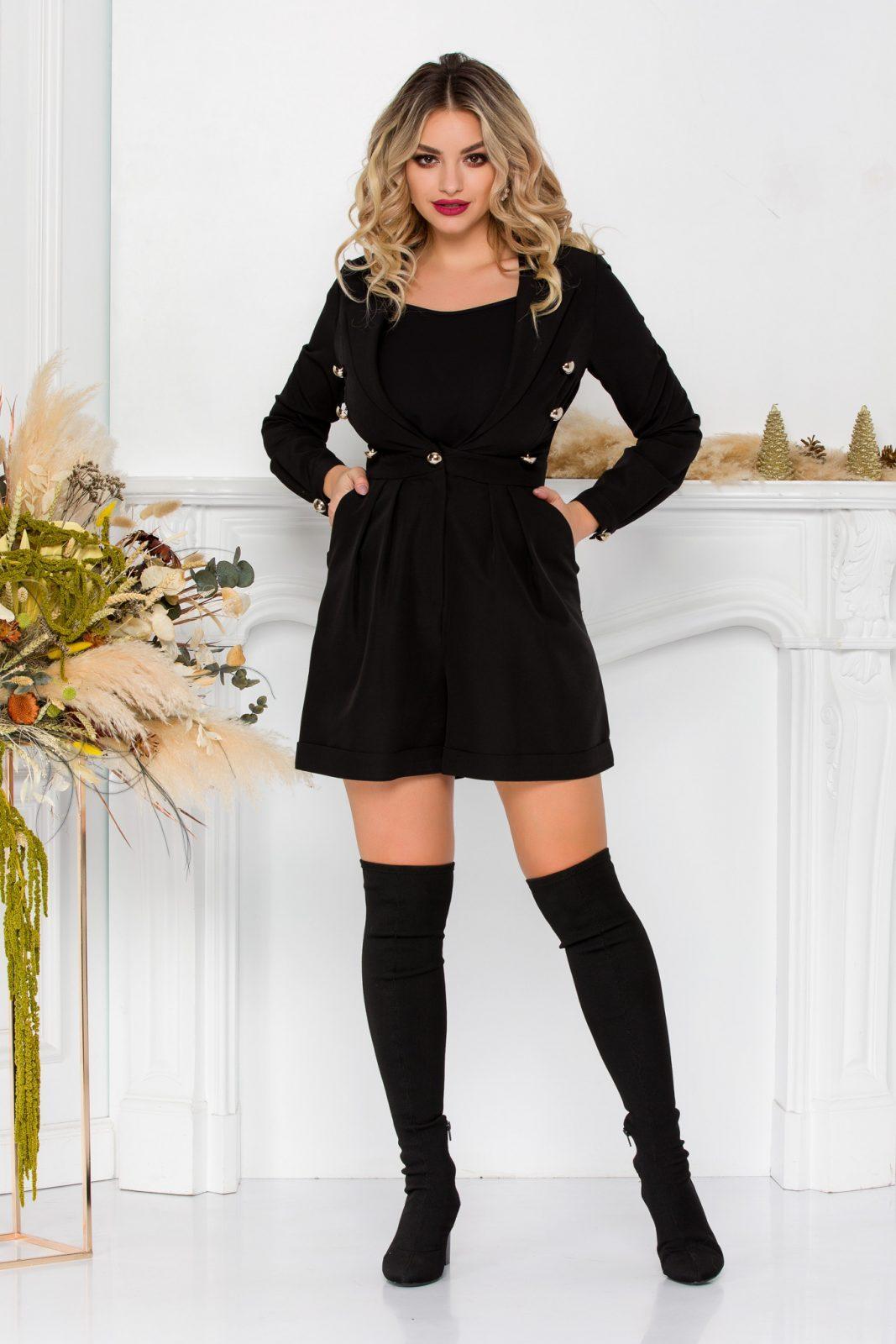 Μαύρη Ολόσωμη Φόρμα Με Κουμπιά Selda 8941 2