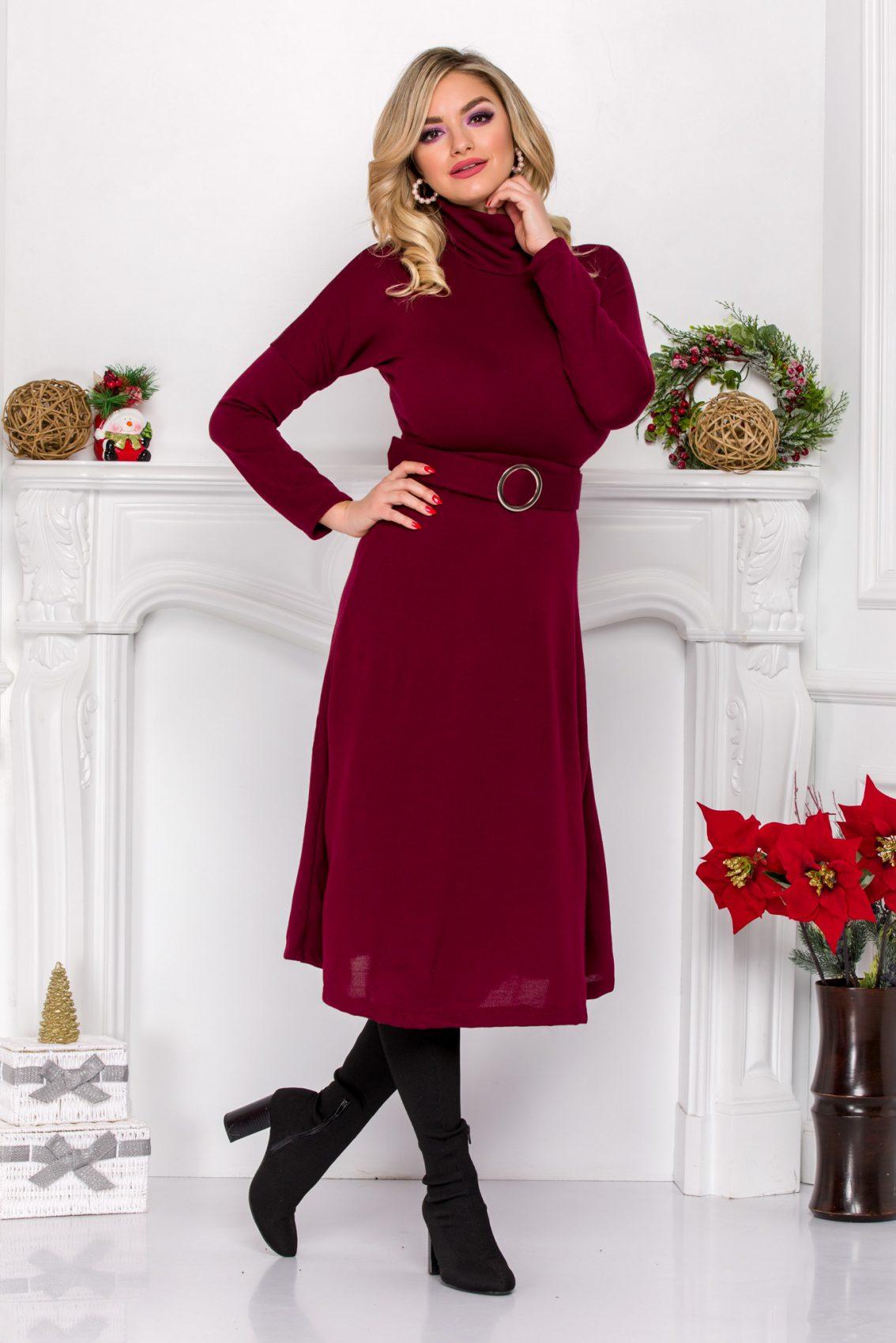 Μπορντό Πλεκτό Φόρεμα Με Ζώνη Ilyana 9083 2