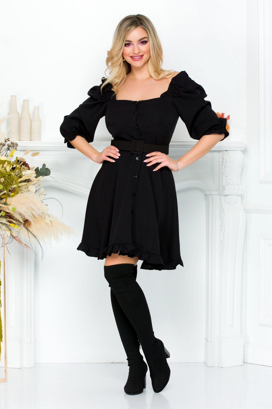 Μαύρο Φόρεμα Με Βολάν Zahra 9309 2