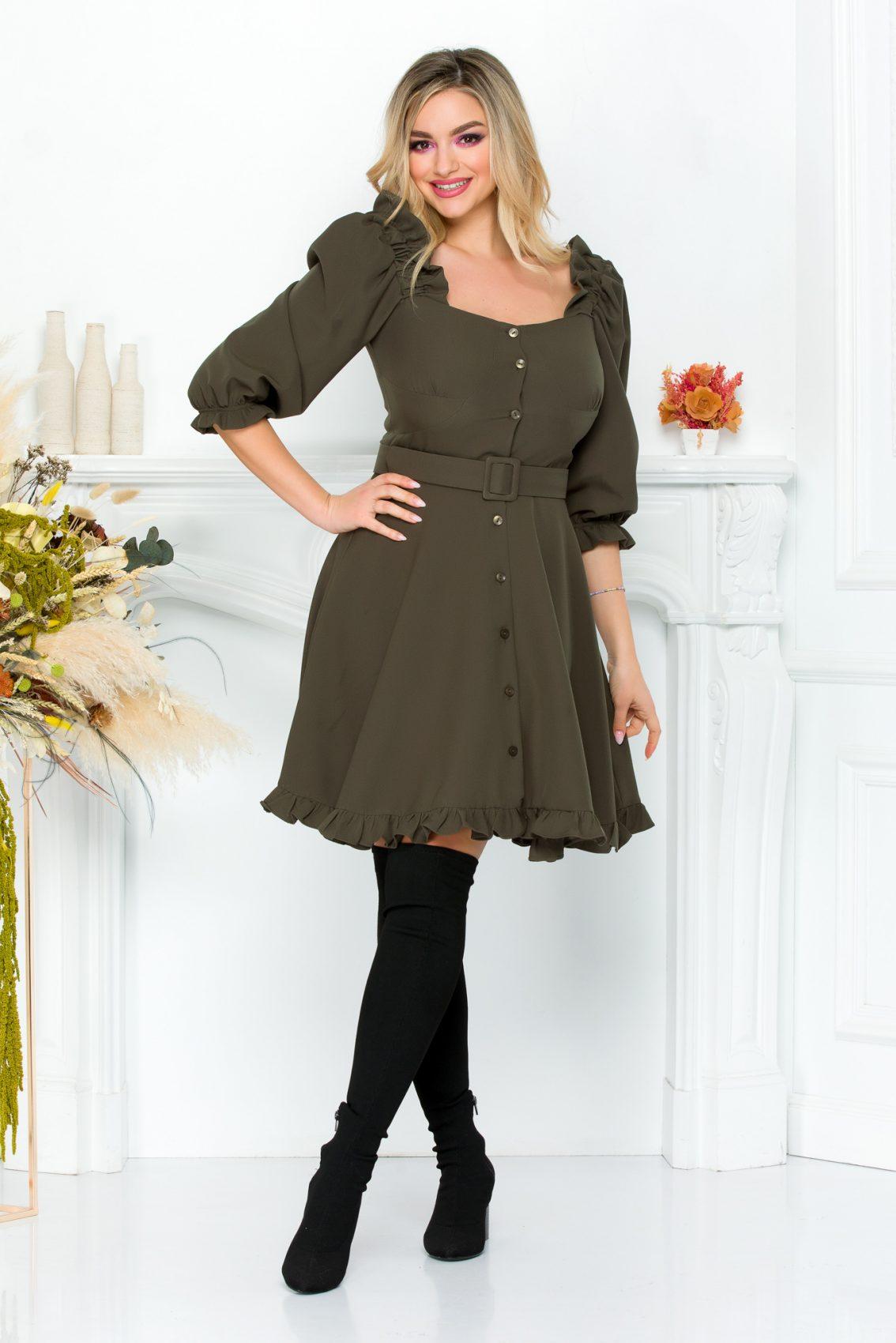 Χακί Φόρεμα Με Βολάν Zahra 9308 2