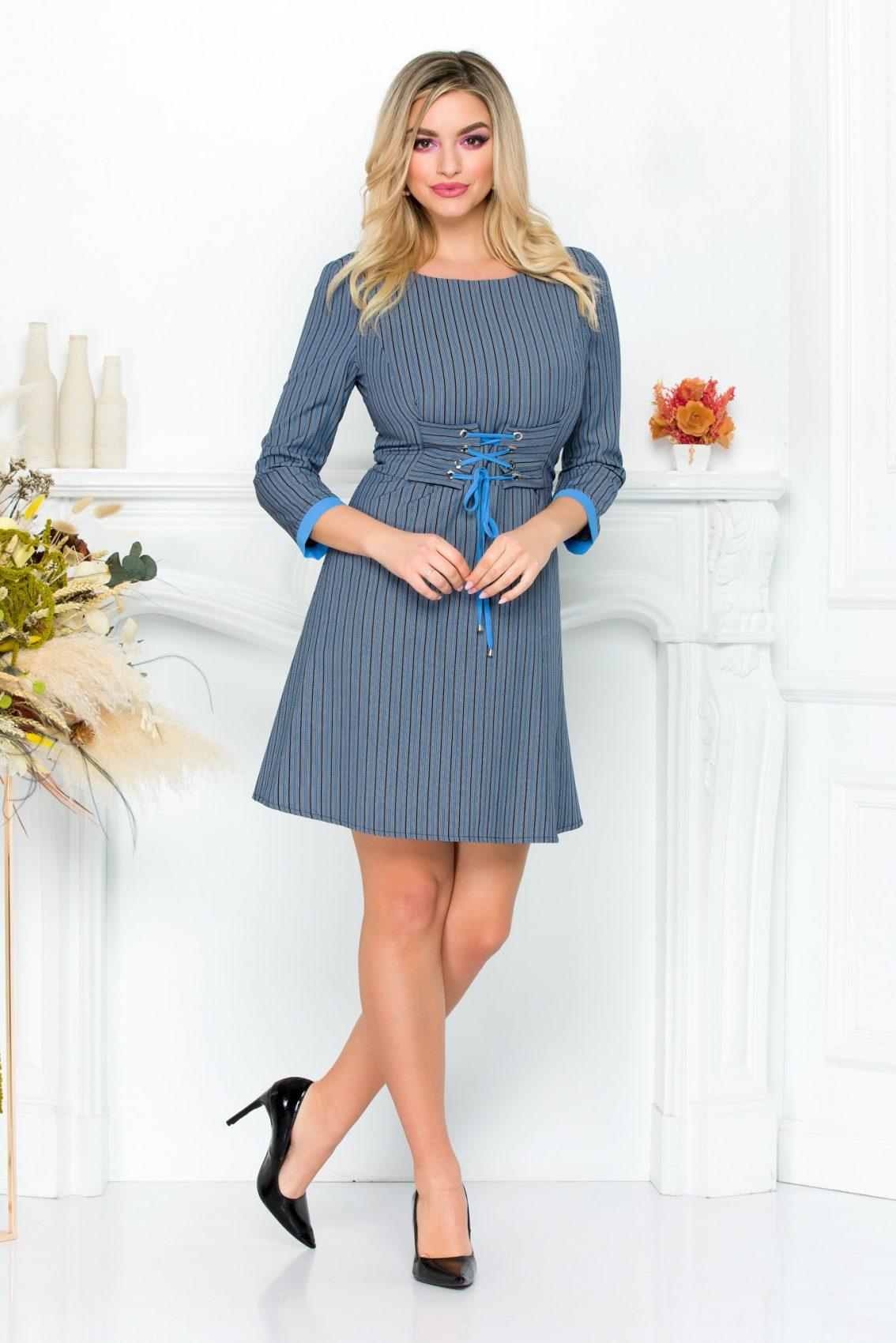 Μπλε Ριγέ Φόρεμα Noa 9312 2