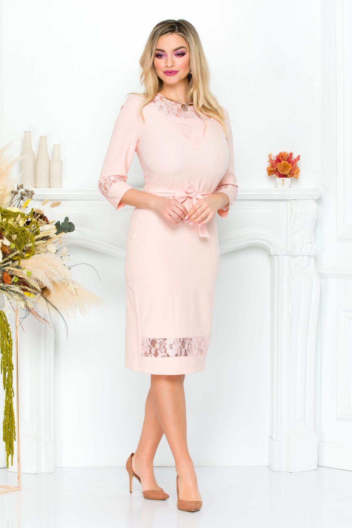 Ροζ Φόρεμα Με Δαντέλα Coraline 9295 2