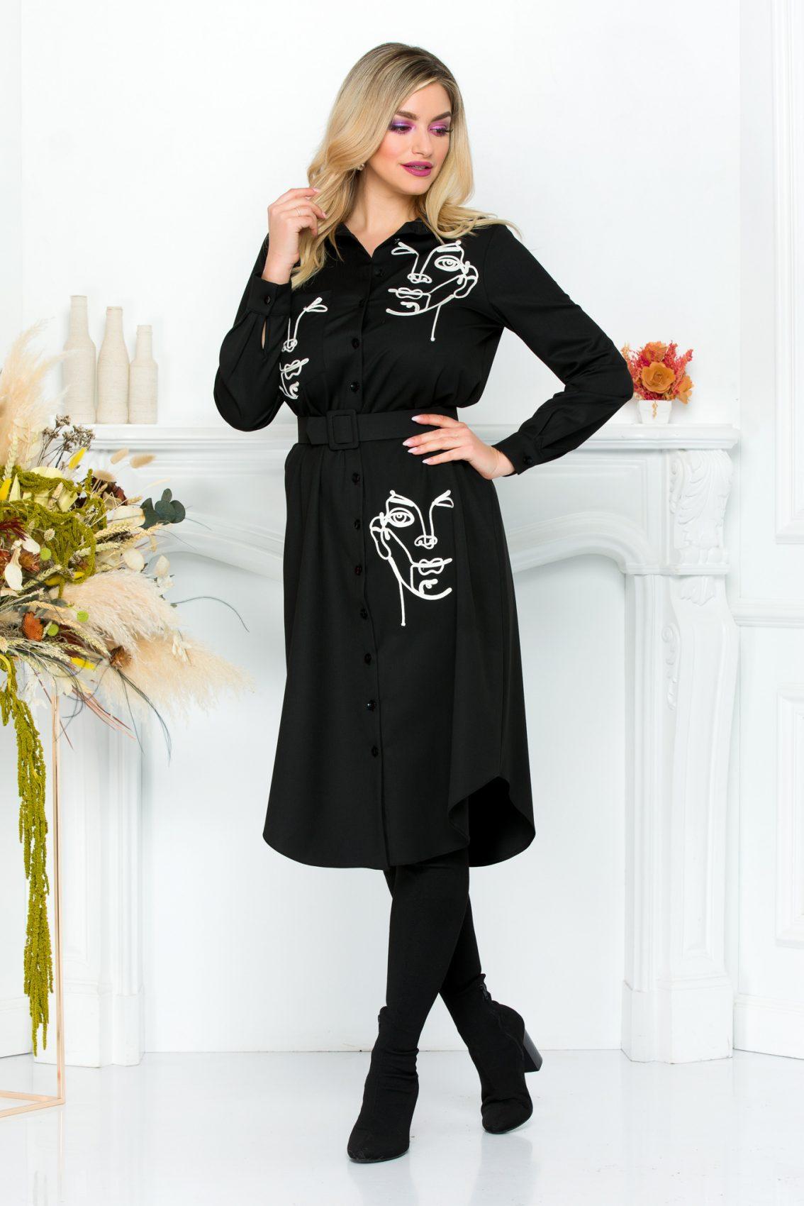 Μαύρο Φόρεμα Σε Στυλ Πουκάμισο River 9286 2