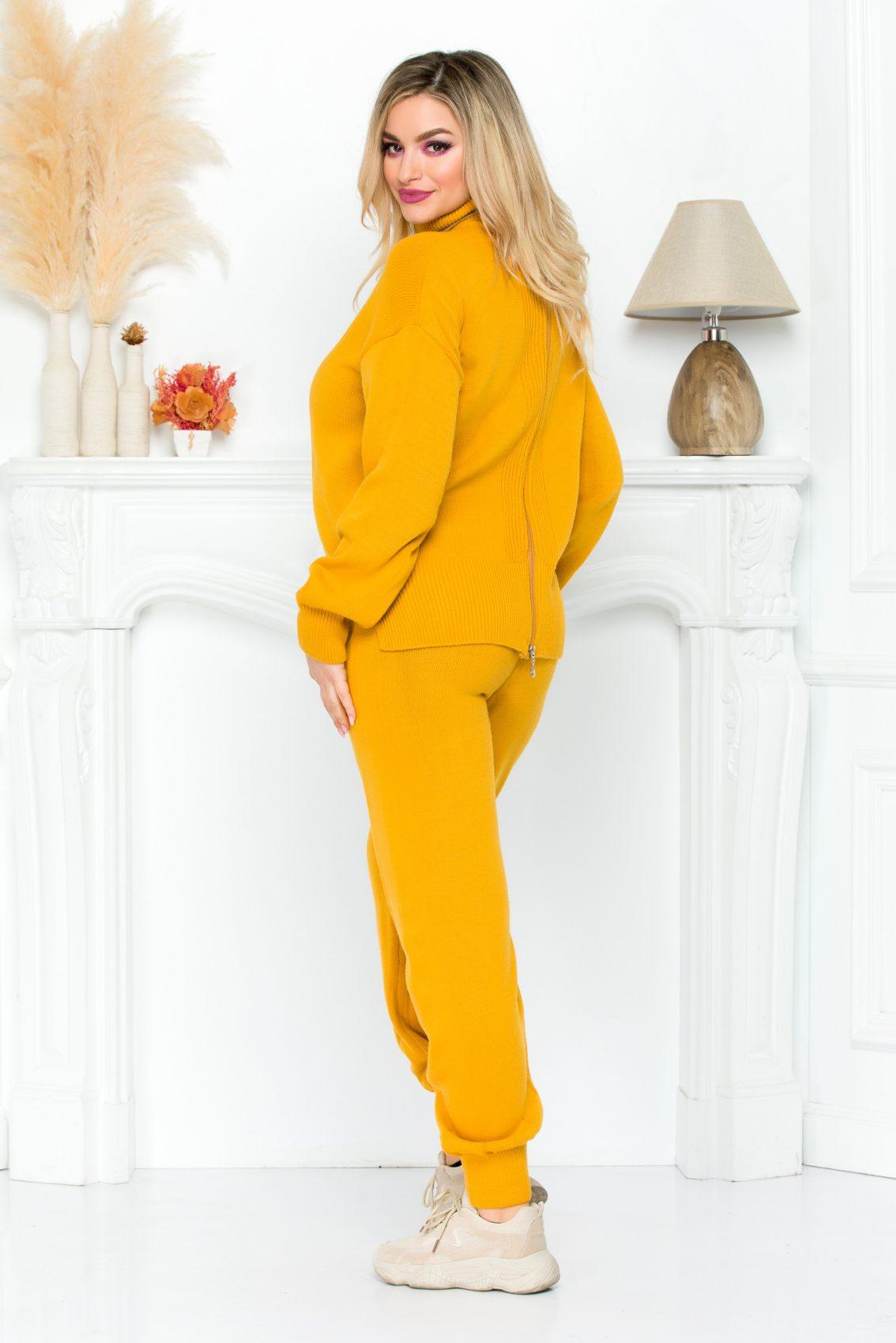 Κίτρινο Πλεκτό Σετ Μπλούζα Με Παντελόνι Hara 9215 1