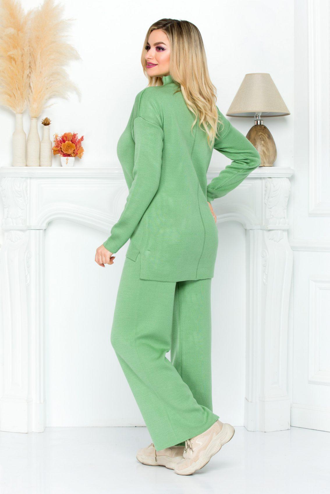 Πράσινο Πλεκτό Σετ Μπλούζα Με Παντελόνι Arabel 9220 1
