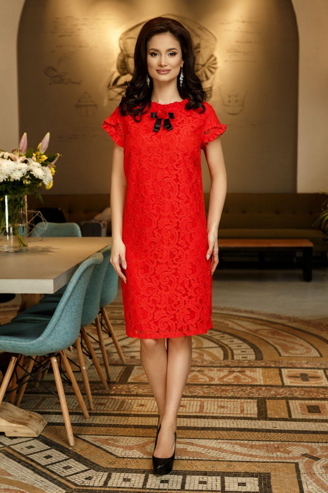 Κοραλί Φόρεμα Από Δαντέλα Hellen 9334 1
