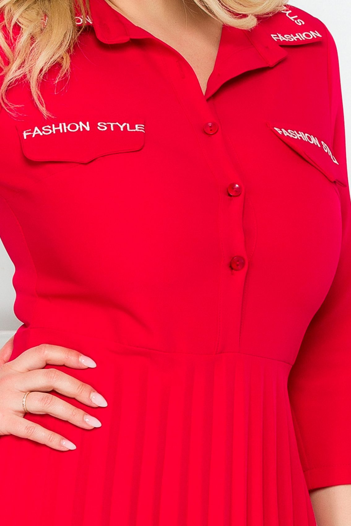 Κόκκινο Πλισέ Φόρεμα Fashion 9279 3