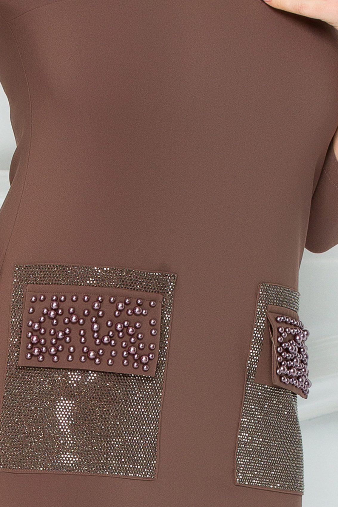 Καφέ Φόρεμα Με Πέρλες Merve 9270 3