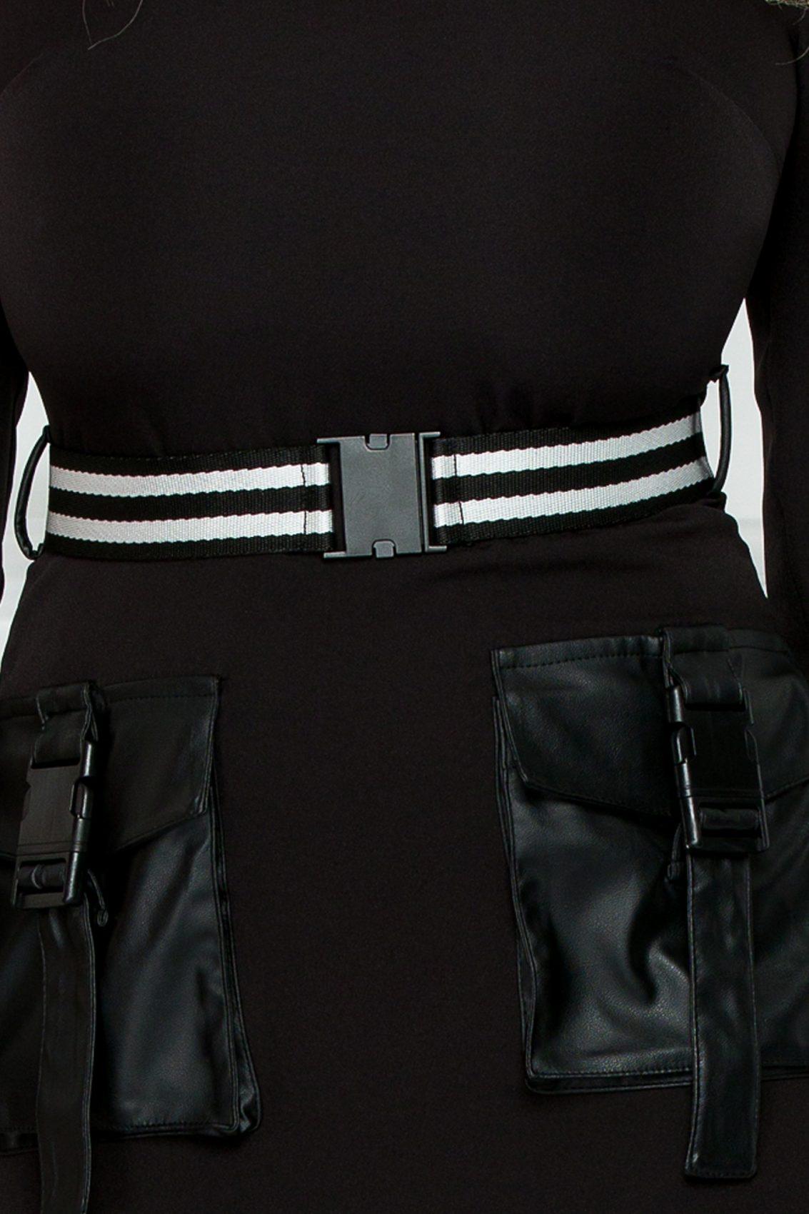 Μαύρο Φόρεμα Με Δερματίνη Keyra 9272 3