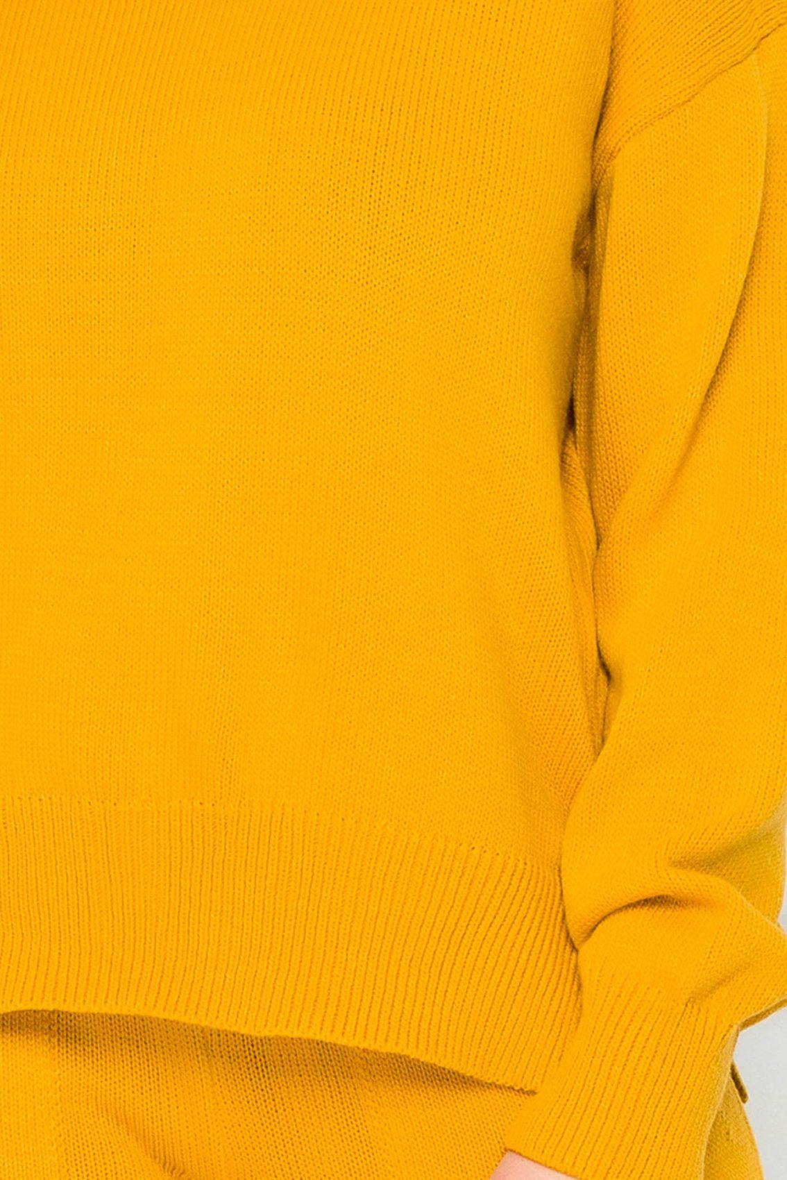 Κίτρινο Πλεκτό Σετ Μπλούζα Με Παντελόνι Hara 9215 2