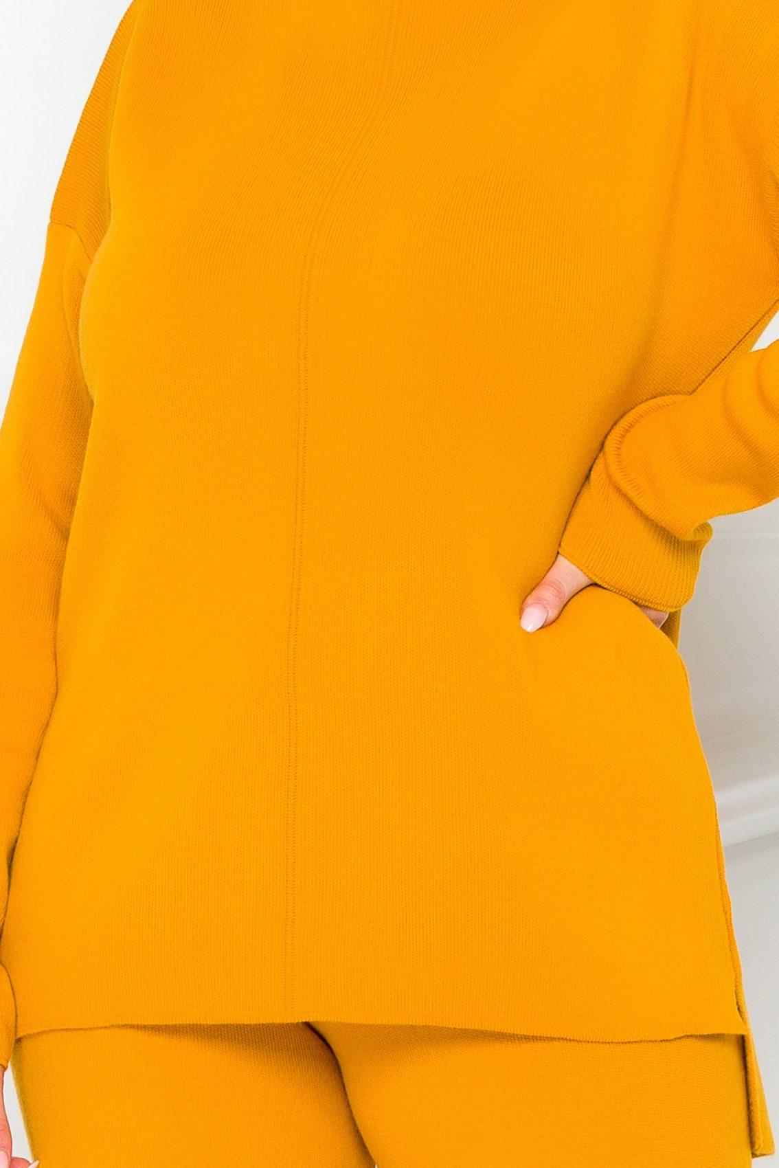 Κίτρινο Πλεκτό Σετ Μπλούζα Με Παντελόνι Arabel 9219 2