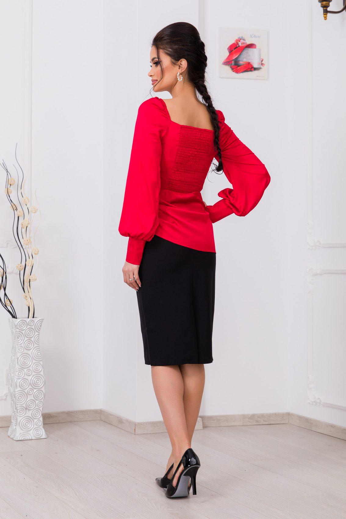Κόκκινη Σατέν Μπλούζα Nika 9698 2