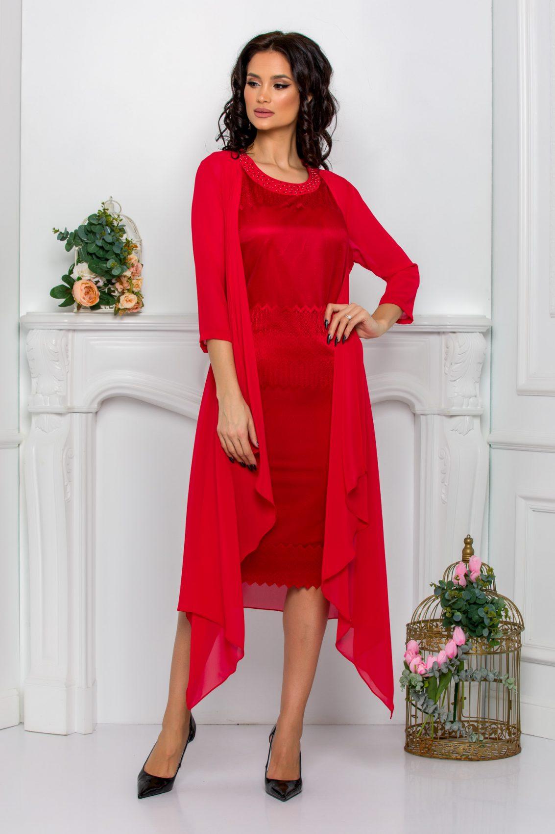 Κόκκινο Φόρεμα Με Ασύμμετρο Μπολερό Georgina 9517 1