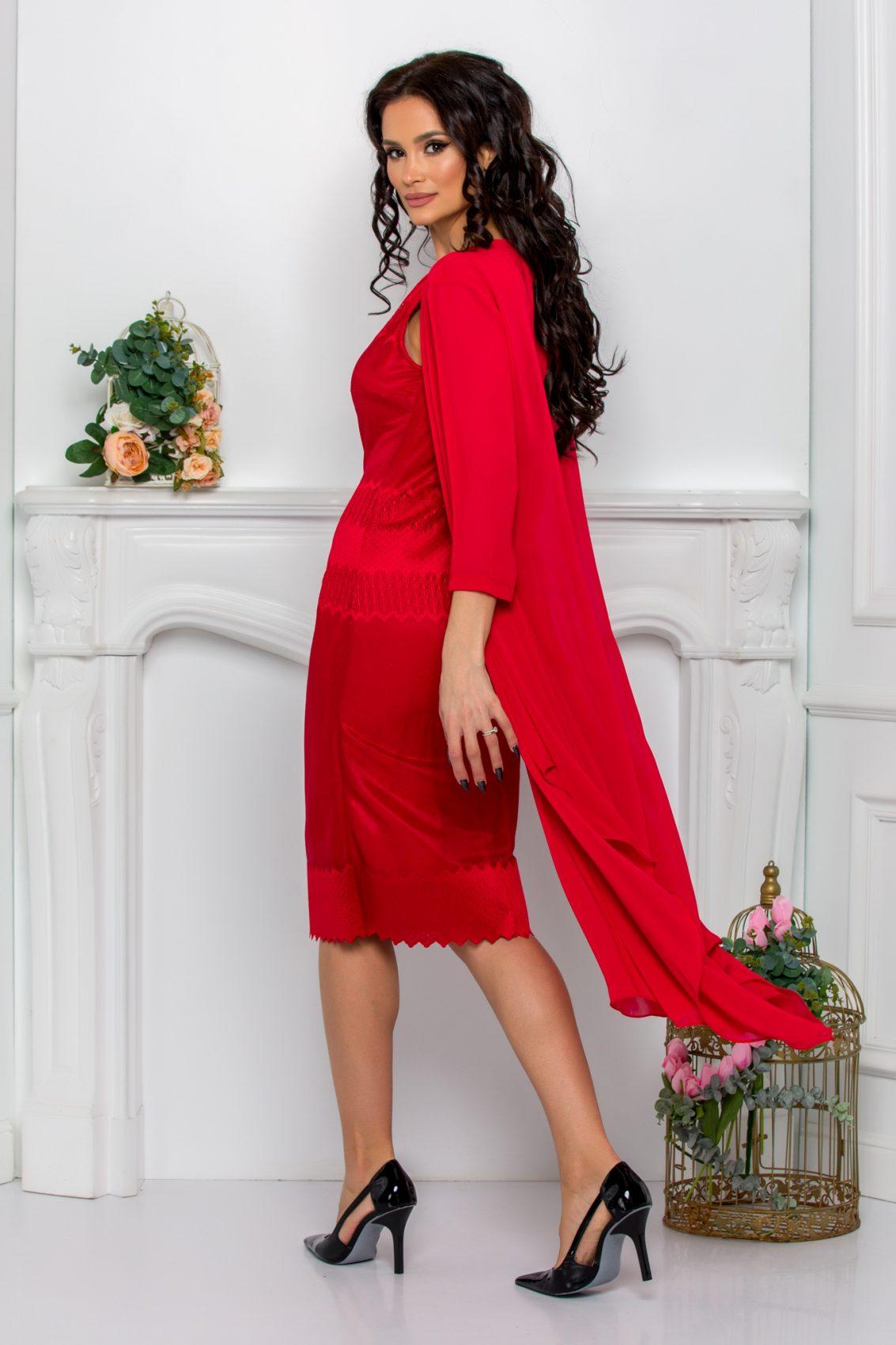 Κόκκινο Φόρεμα Με Ασύμμετρο Μπολερό Georgina 9517 2