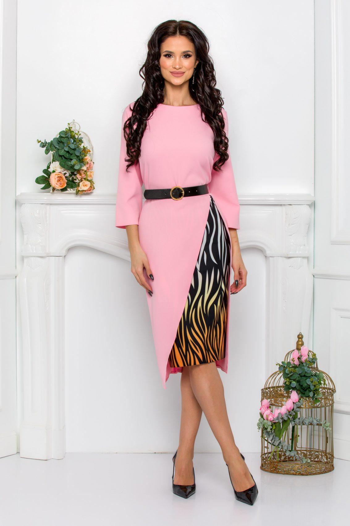 Ροζ Φόρεμα Με Μαύρη Ζώνη Elyna 9519 1