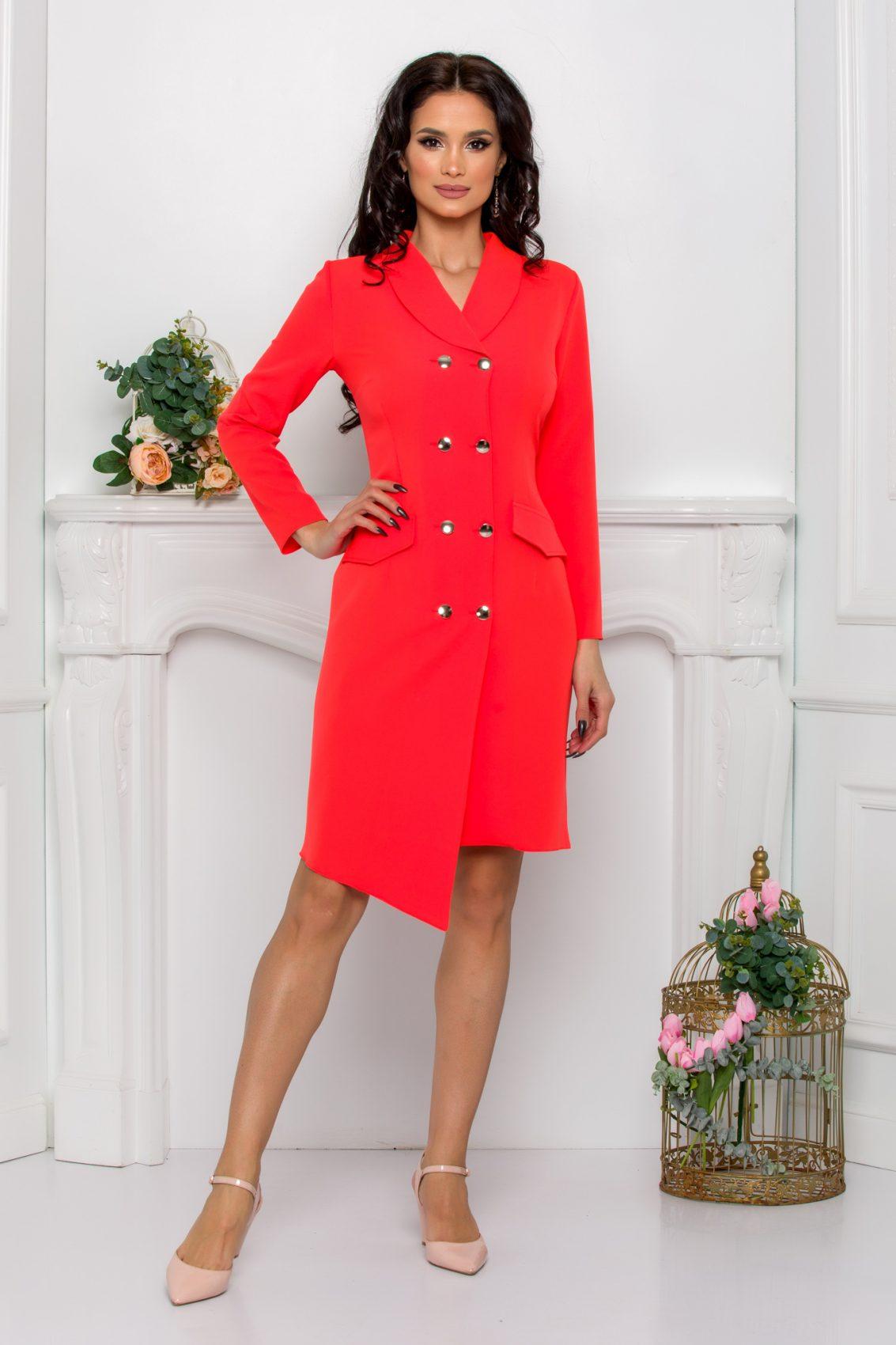 Κοραλί Φόρεμα Με Κουμπιά Yndira 9633 1