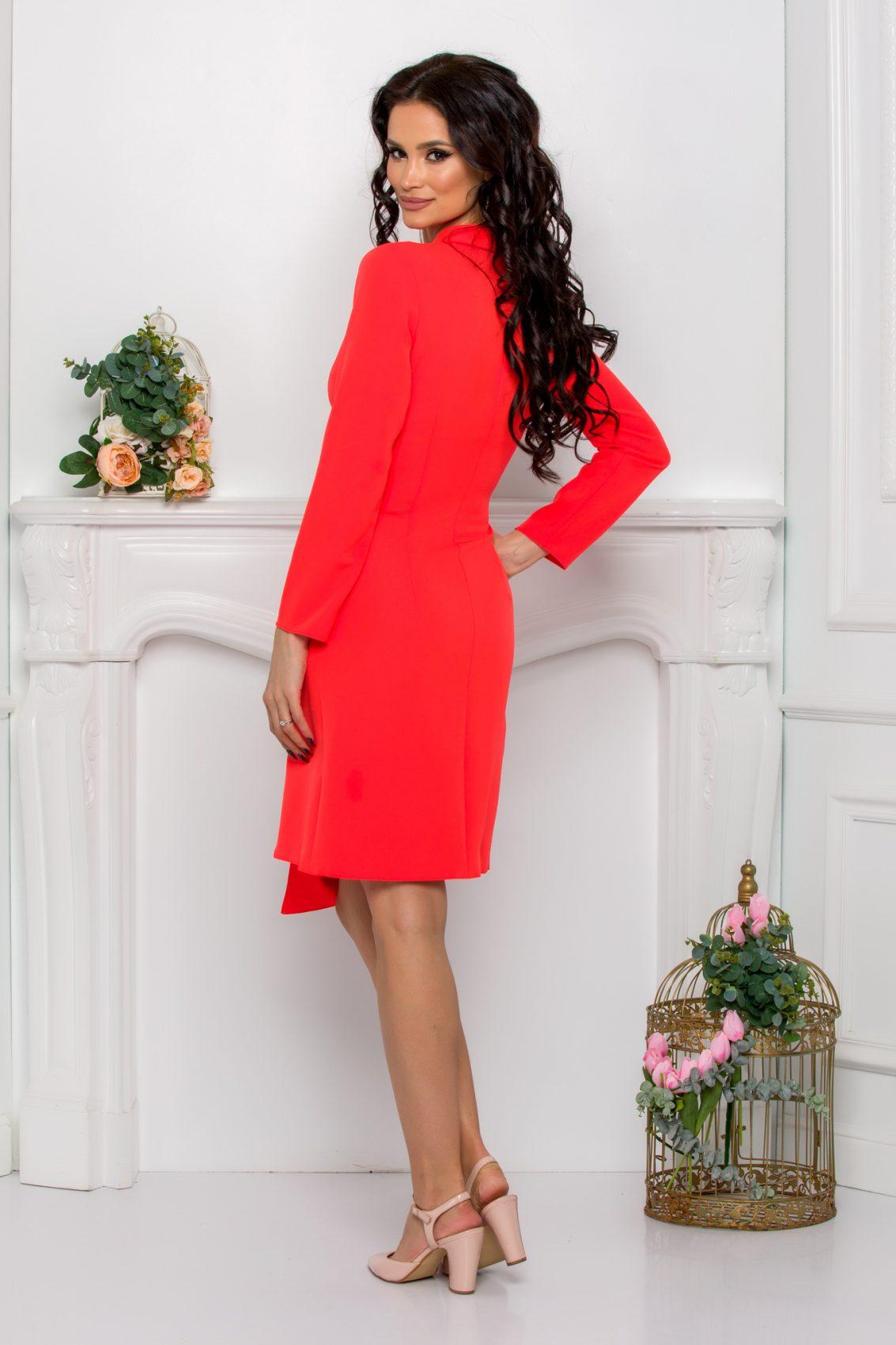 Κοραλί Φόρεμα Με Κουμπιά Yndira 9633 2