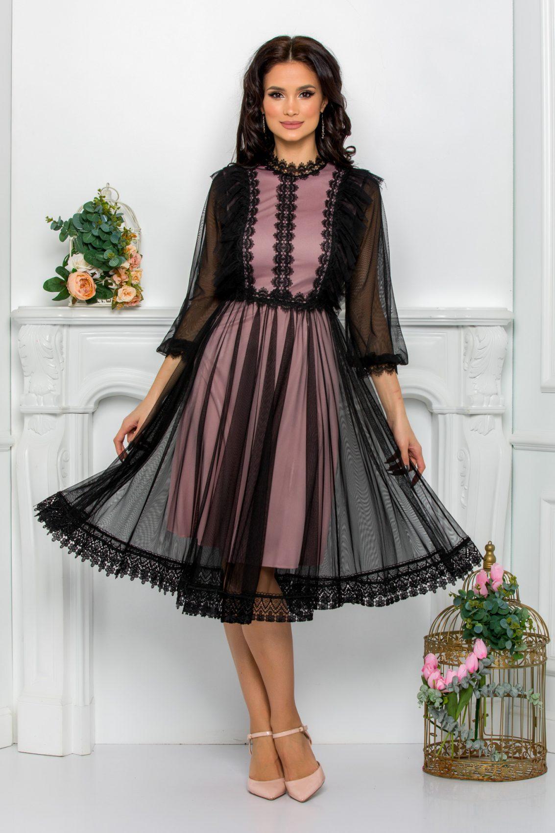 Ροζ Φόρεμα Με Δαντέλα Jolissa 9601 1