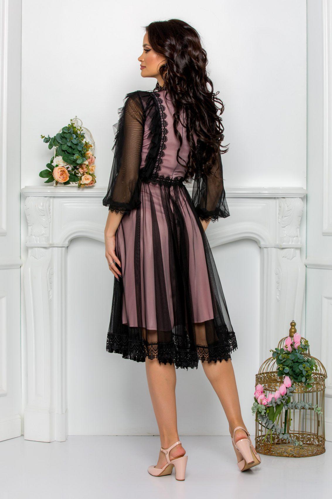 Ροζ Φόρεμα Με Δαντέλα Jolissa 9601 2