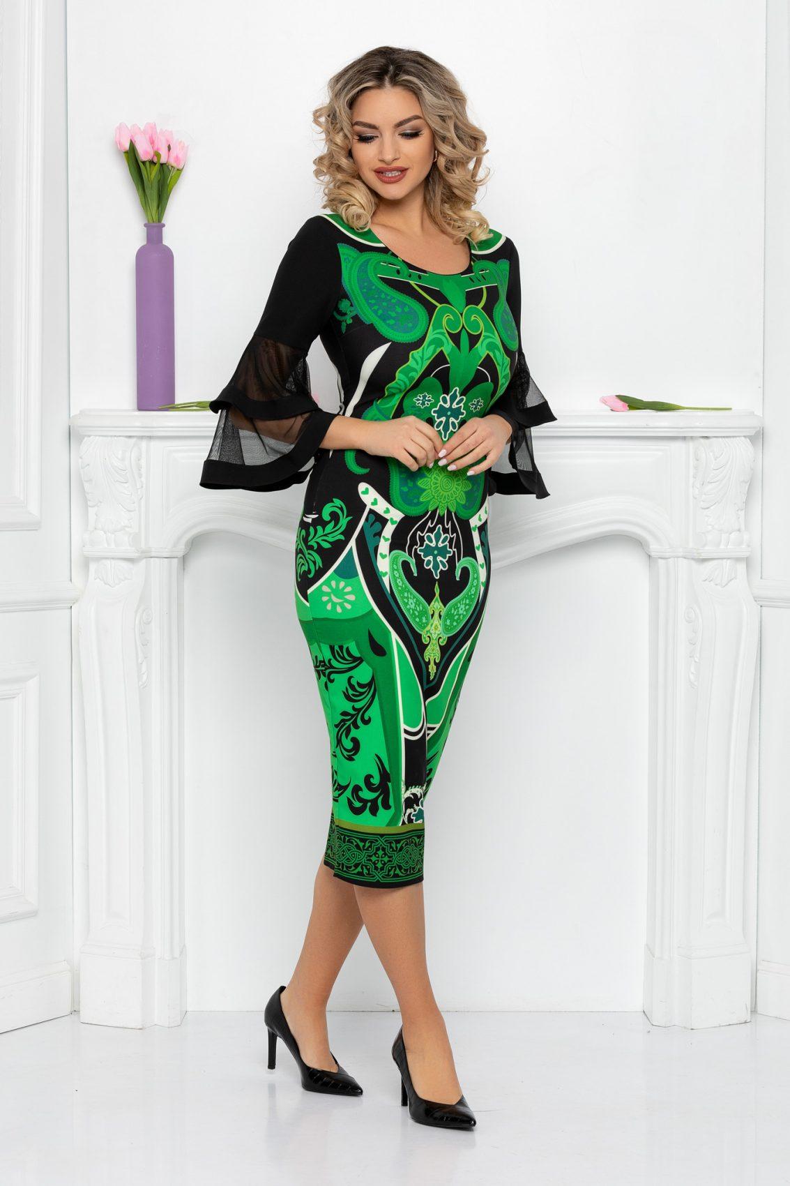 Πράσινο Μίντι Φόρεμα Σε Πένσιλ Γραμμή Eva 9430 3